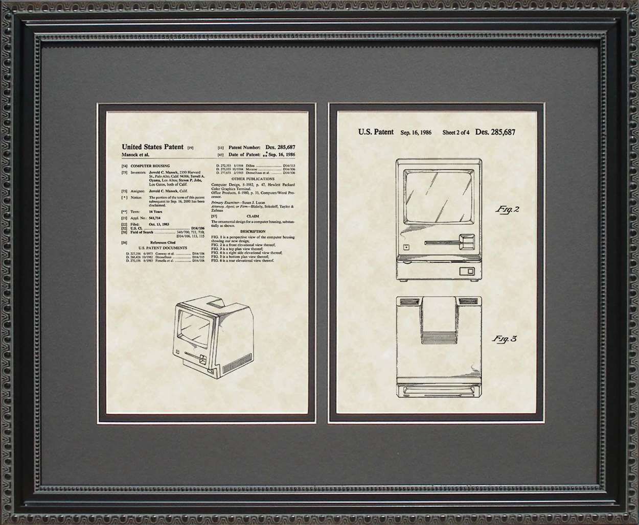 Macintosh Computer Patent, Art & Copy, Manock & Jobs, 1986, 16x20