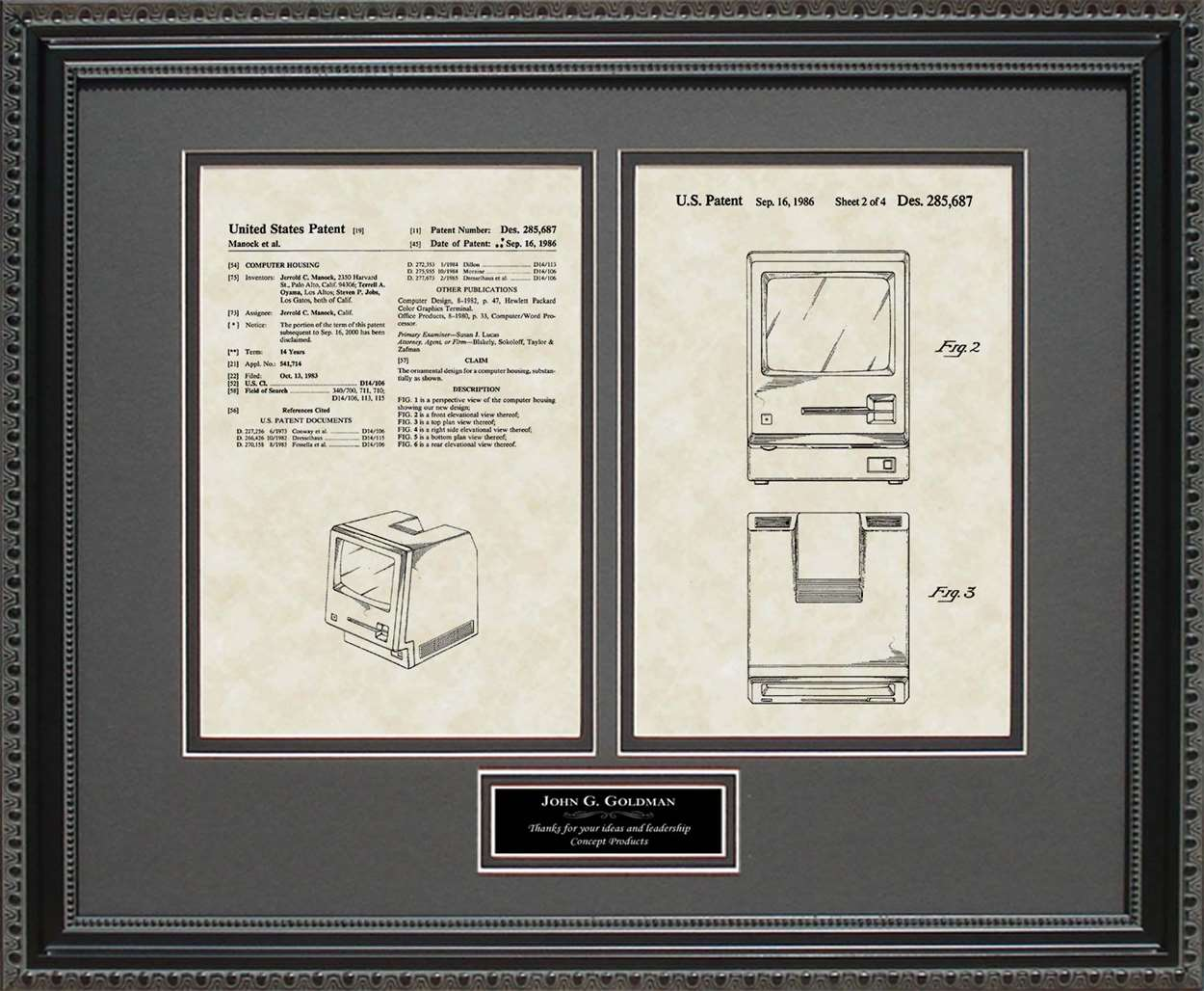 Personalized Macintosh Computer Patent, Art & Copy, Manock & Jobs, 1986