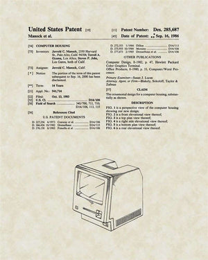 Macintosh Computer Patent Art, Manock & Jobs, 1986
