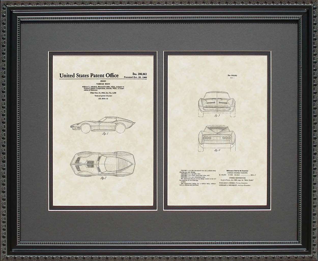 Corvette Patent, Art & Copy, Mitchell, 1966, 16x20