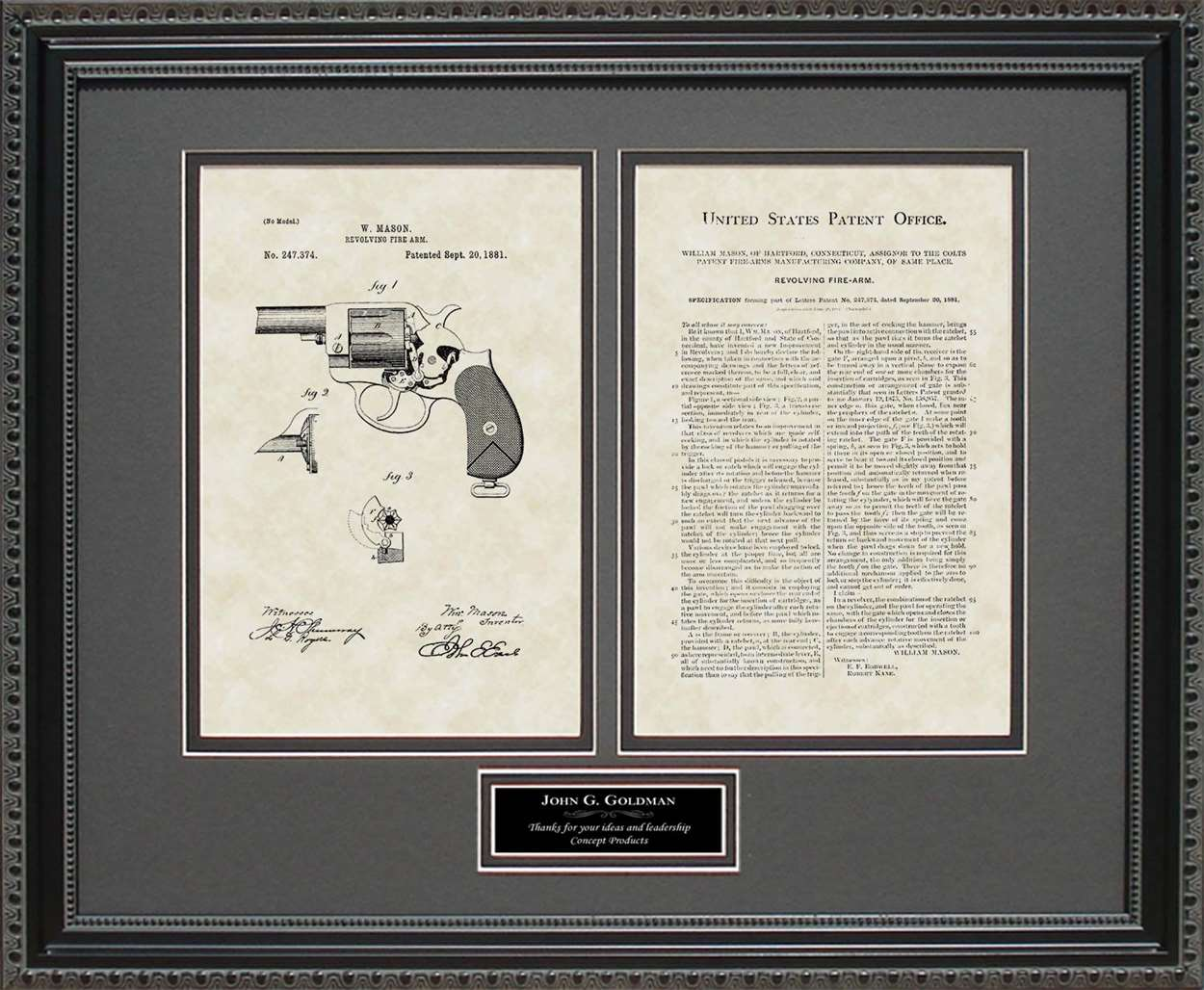 Personalized Colt Peacemaker Patent, Art & Copy, Mason, 1881