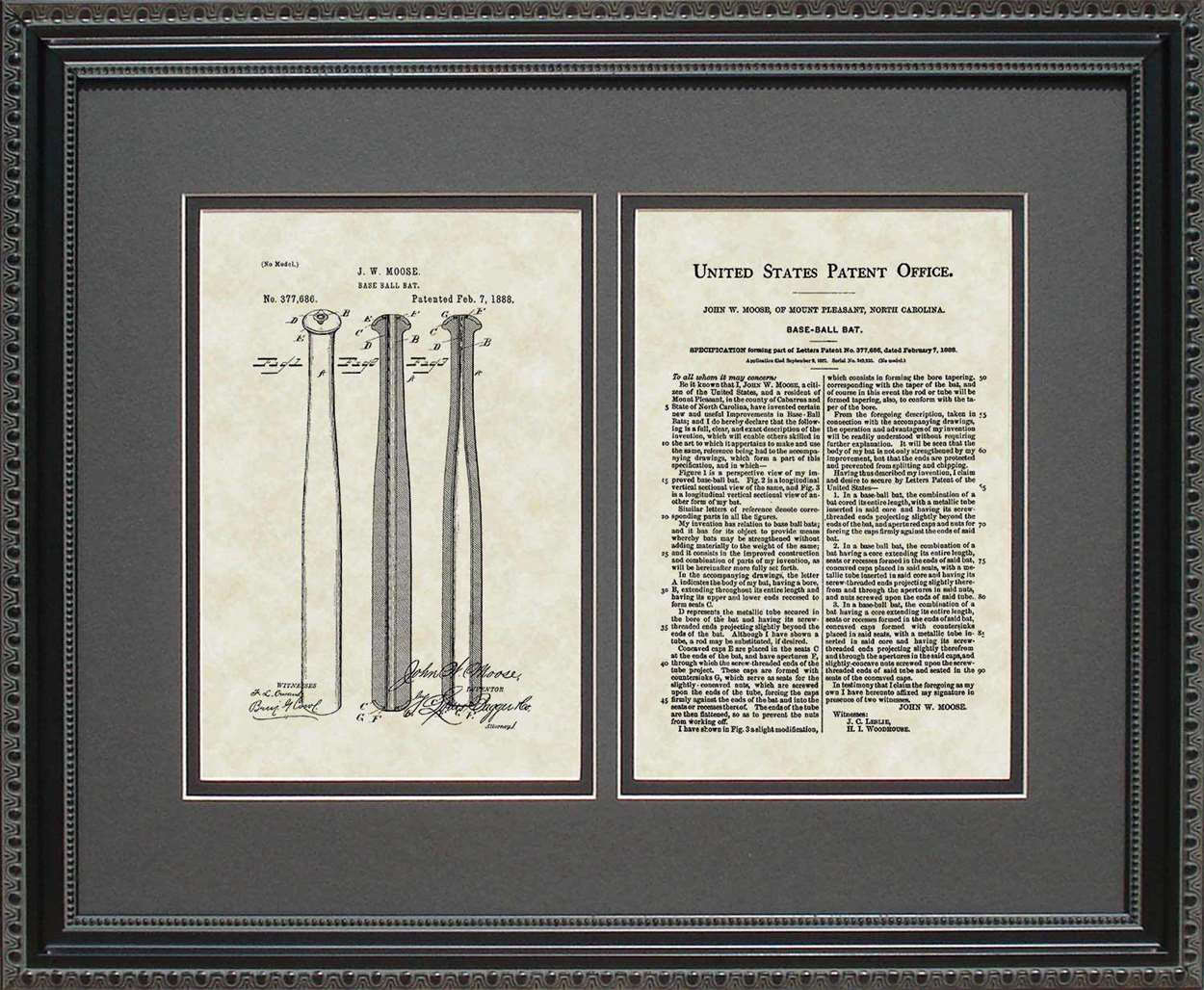 Baseball Bat Patent, Art & Copy, Moose, 1888, 16x20