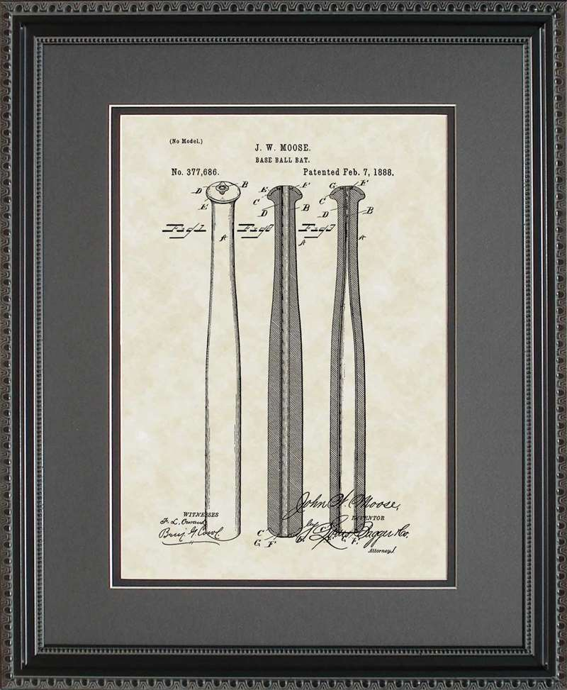 Baseball Bat Patent Art, Moose, 1888