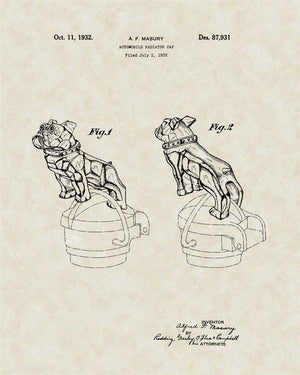 Bulldog Hood Ornament Patent Art, Masbury, 1932