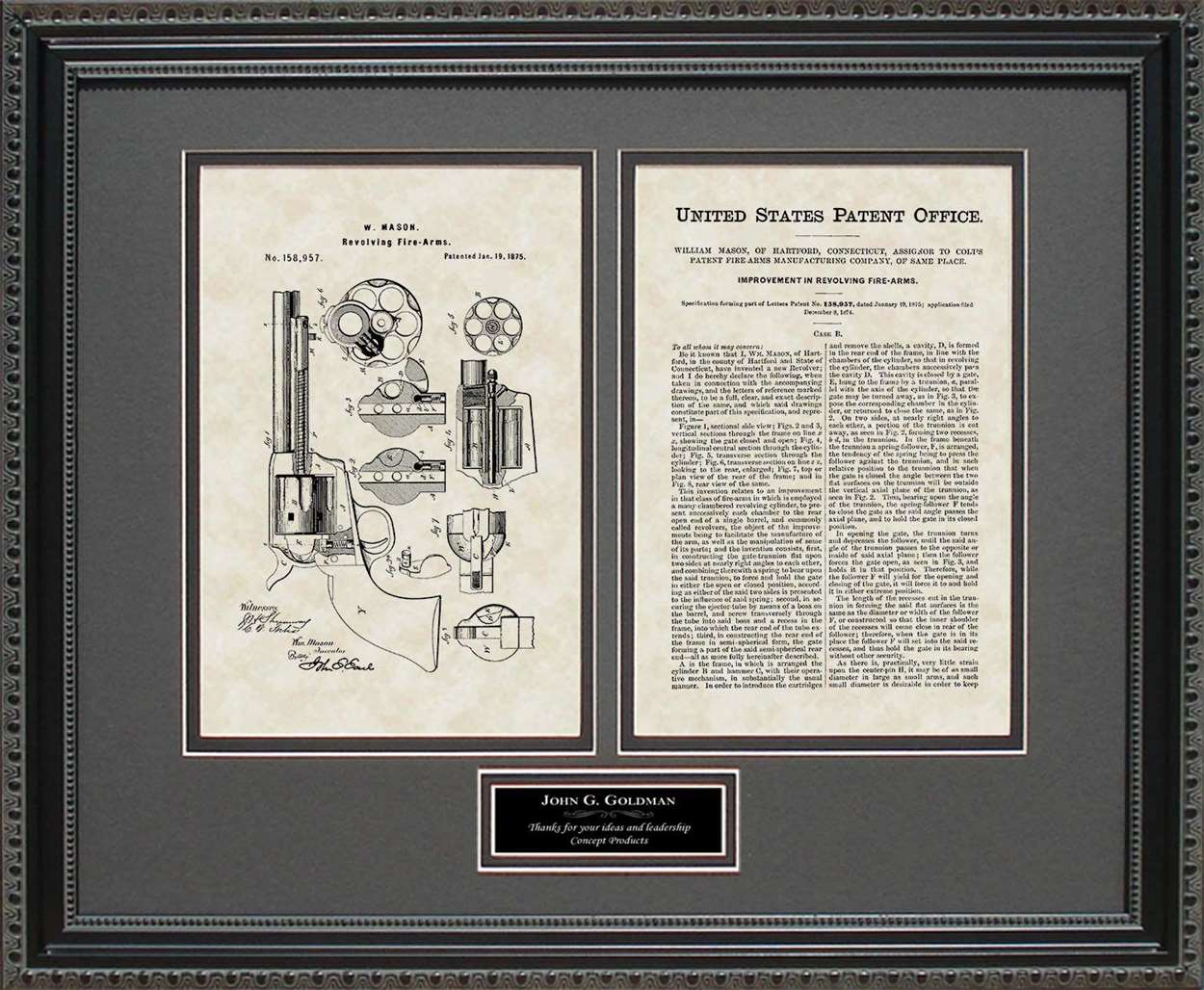 Personalized Early Revolver Patent, Art & Copy, Mason, 1875