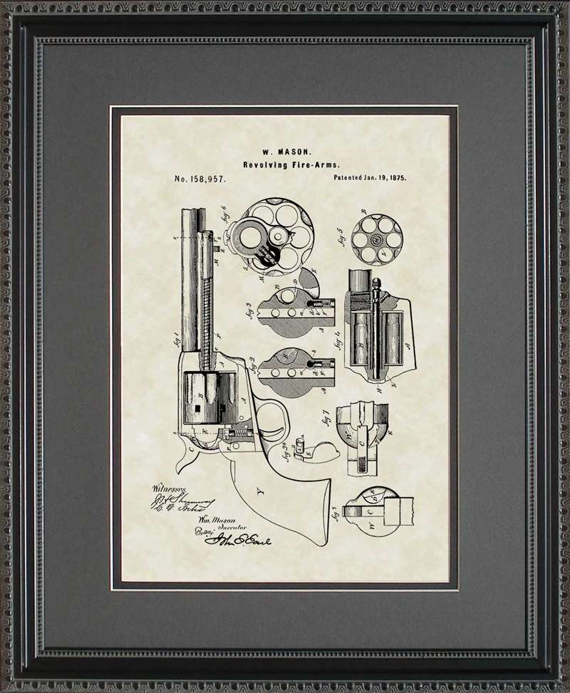 Early Revolver Patent Art, Mason, 1875