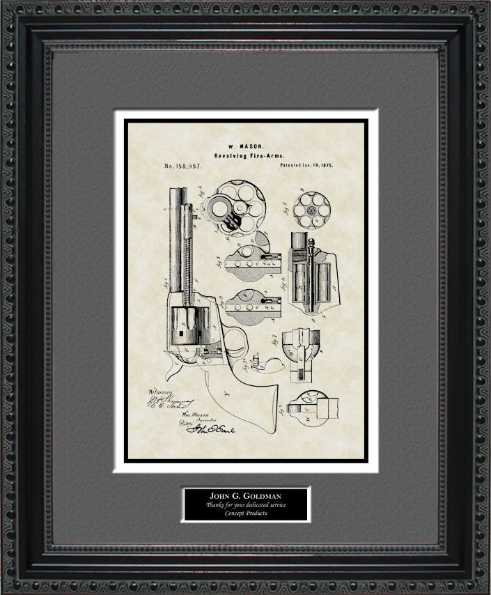 Personalized Early Revolver Patent Art, Mason, 1875