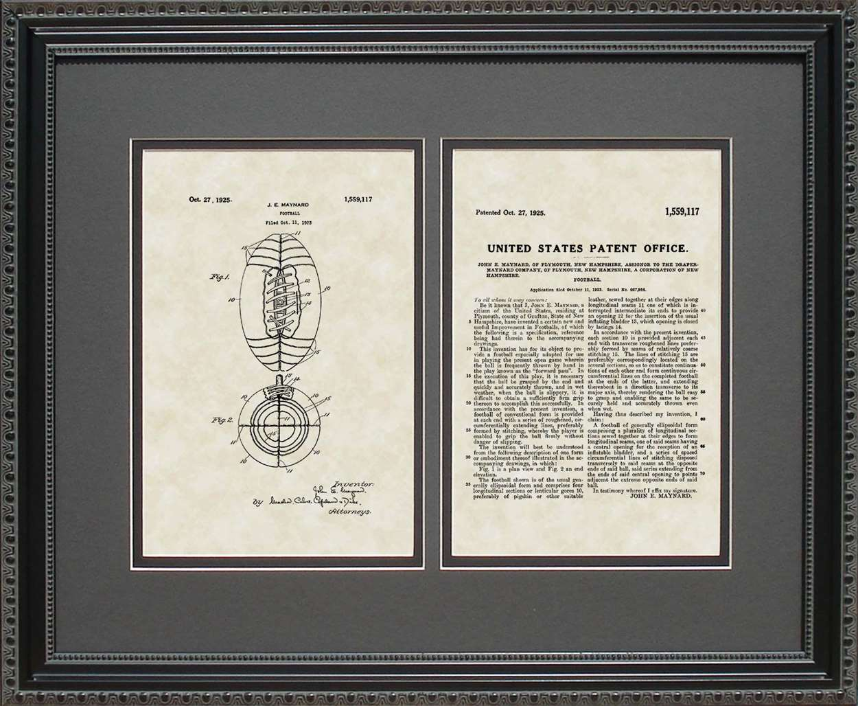 Football Patent, Art & Copy, Maynard, 1925, 16x20