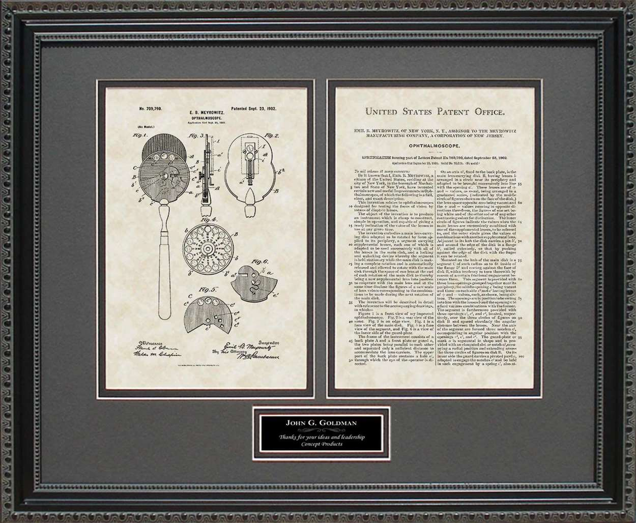 Personalized Opthalmoscope Patent, Art & Copy, Meyrowitz, 1902