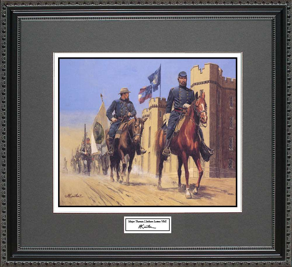 Major Thomas J Jackson Leaves VMI, Mort Kunstler, 18x16
