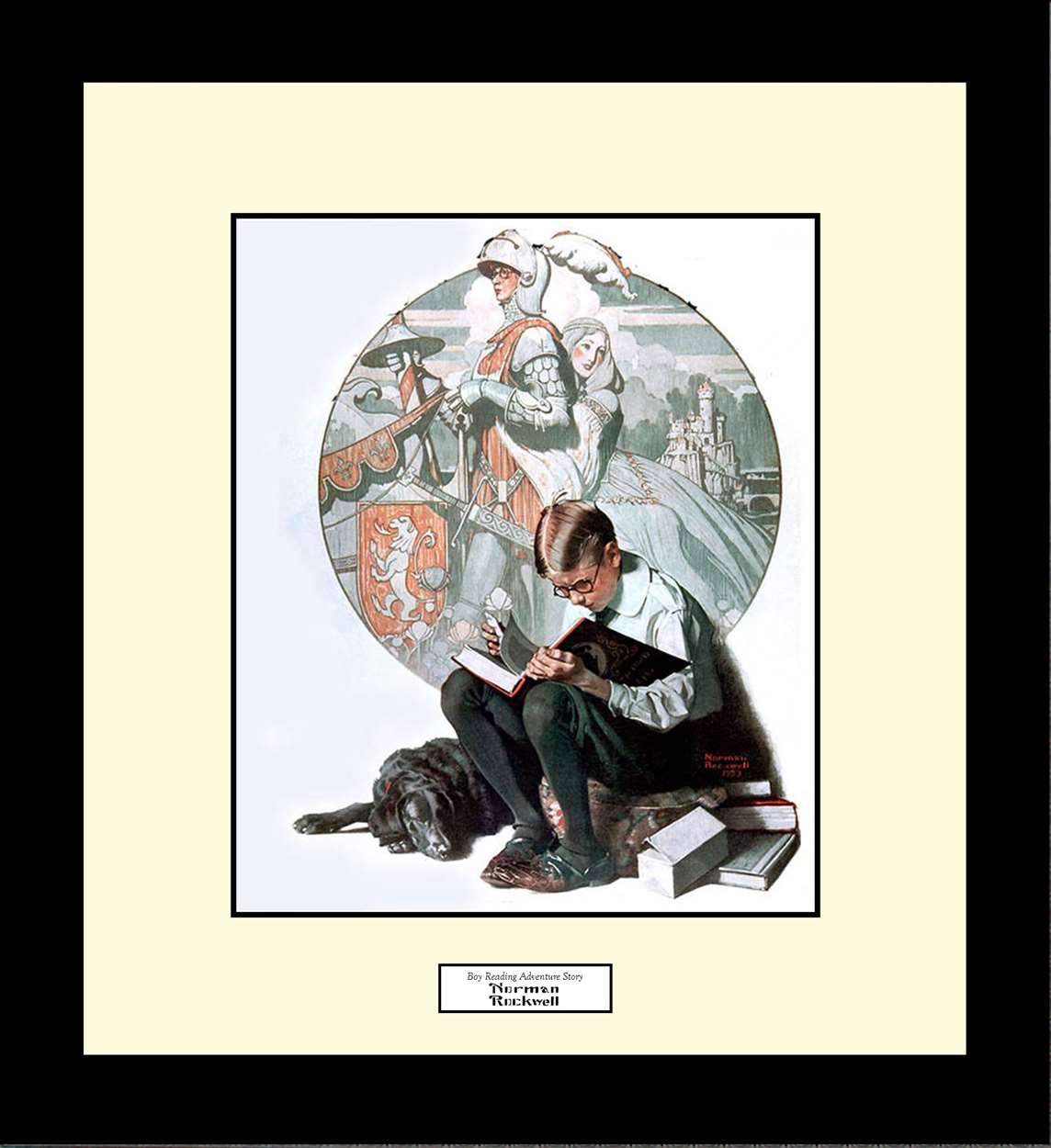 Boy Reading Adventure Story, Norman Rockwell, 16x18