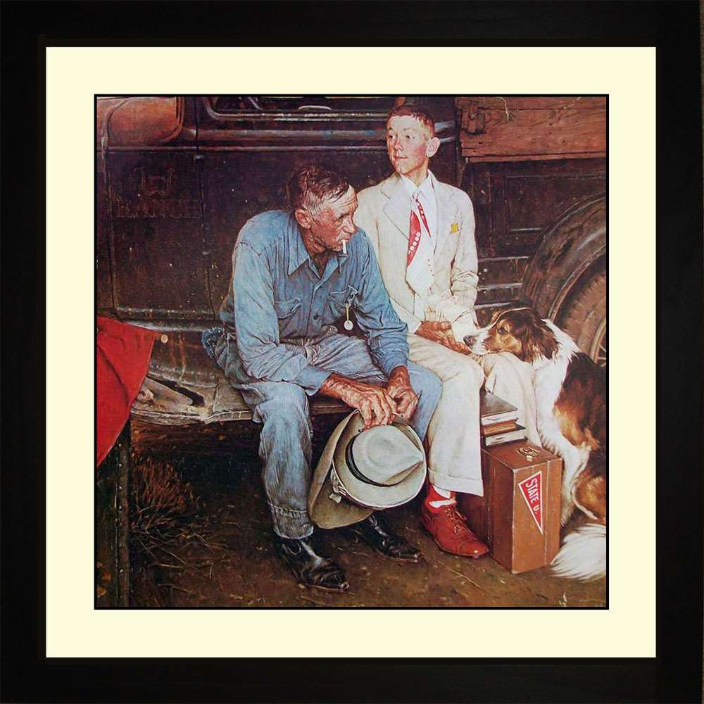 Breaking Home Ties, Norman Rockwell, 16x16