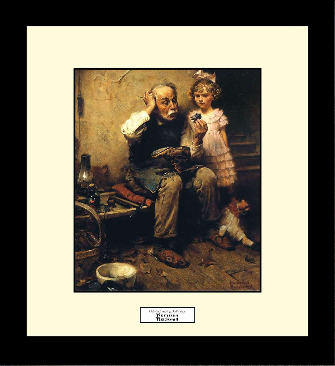 Cobbler Studying Doll's Shoe, Norman Rockwell, 16x18