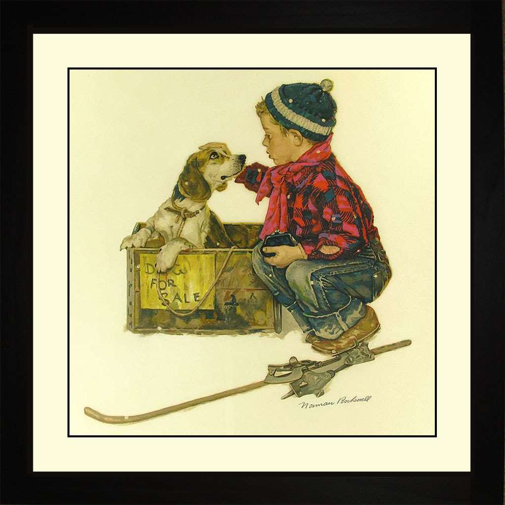 Puppy - Love at First Site, Norman Rockwell, 16x16