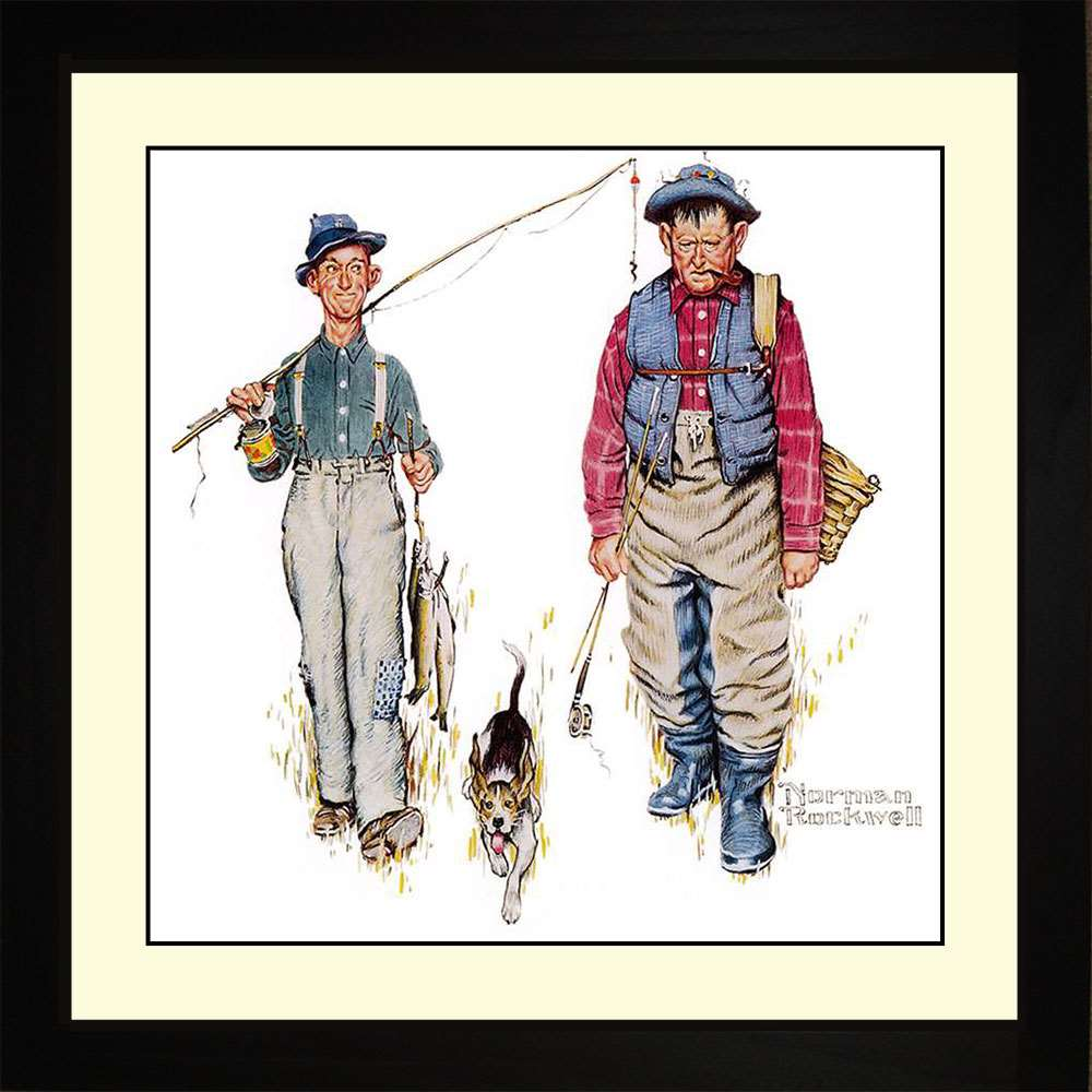 Two Old Men and Dog, Norman Rockwell, 16x16