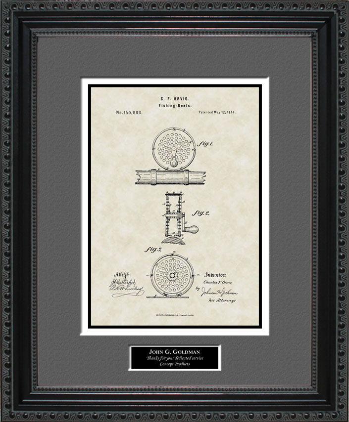 Personalized Fly Fishing Reel Patent Art, Orvis, 1874
