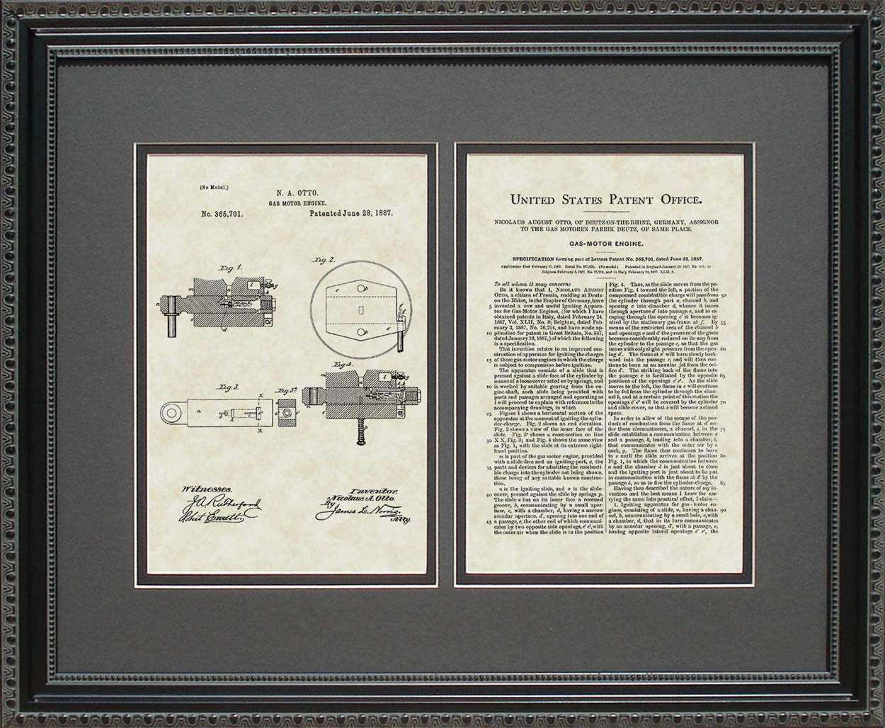 Gas Motor Engine Patent, Art & Copy, Otto, 1887, 16x20