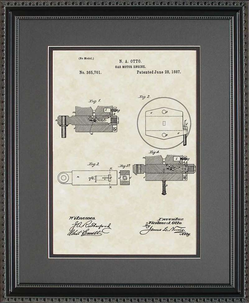 Gas Motor Engine Patent Art, Otto, 1887