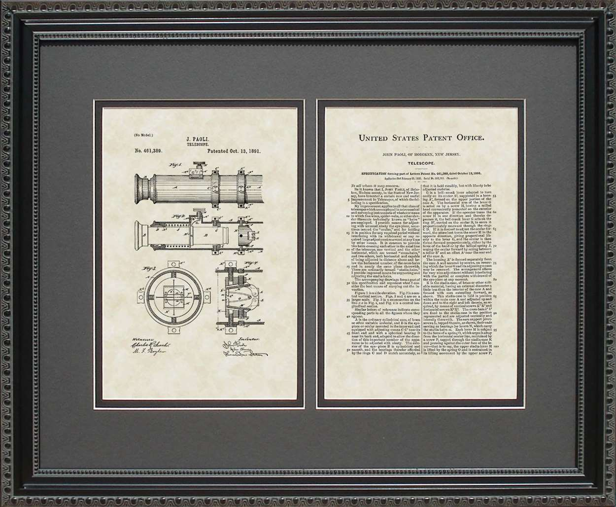 Telescope Patent, Art & Copy, Paoli, 1891, 16x20