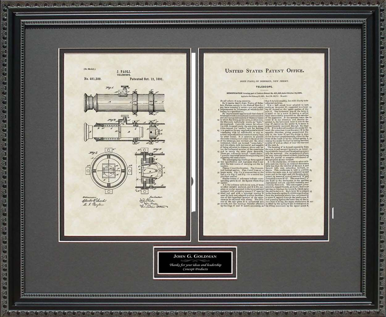 Personalized Telescope Patent, Art & Copy, Paoli, 1891