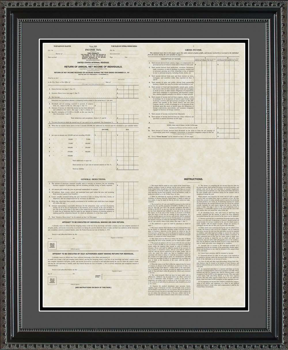 First IRS Form 1040 Poster, 16x20