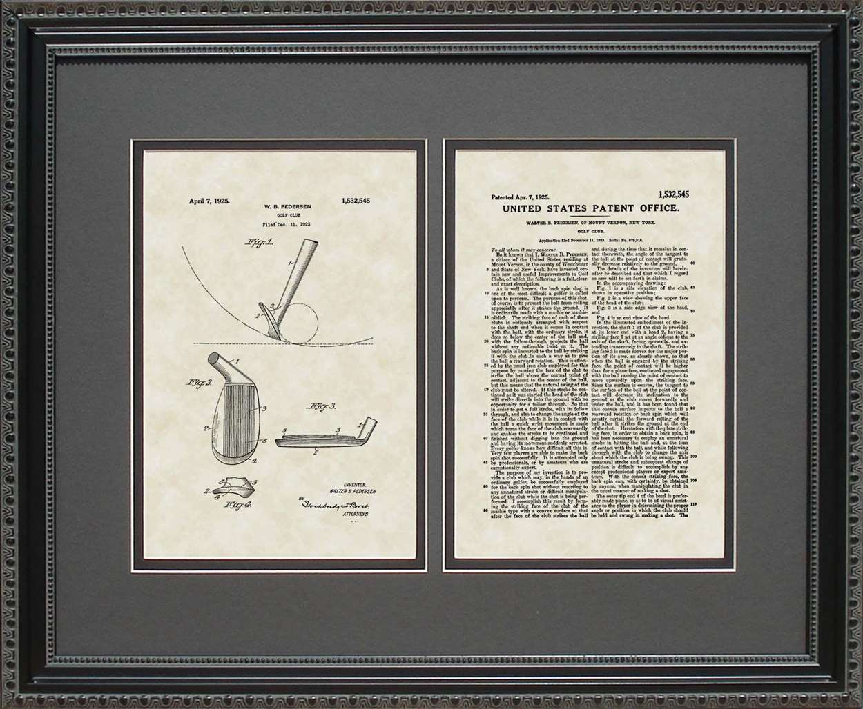 Golf Club Patent, Art & Copy, Pedersen, 1925, 16x20