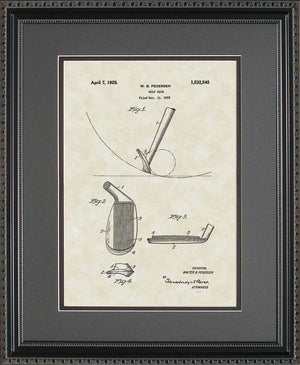 Golf Club Patent Art, Pedersen, 1925