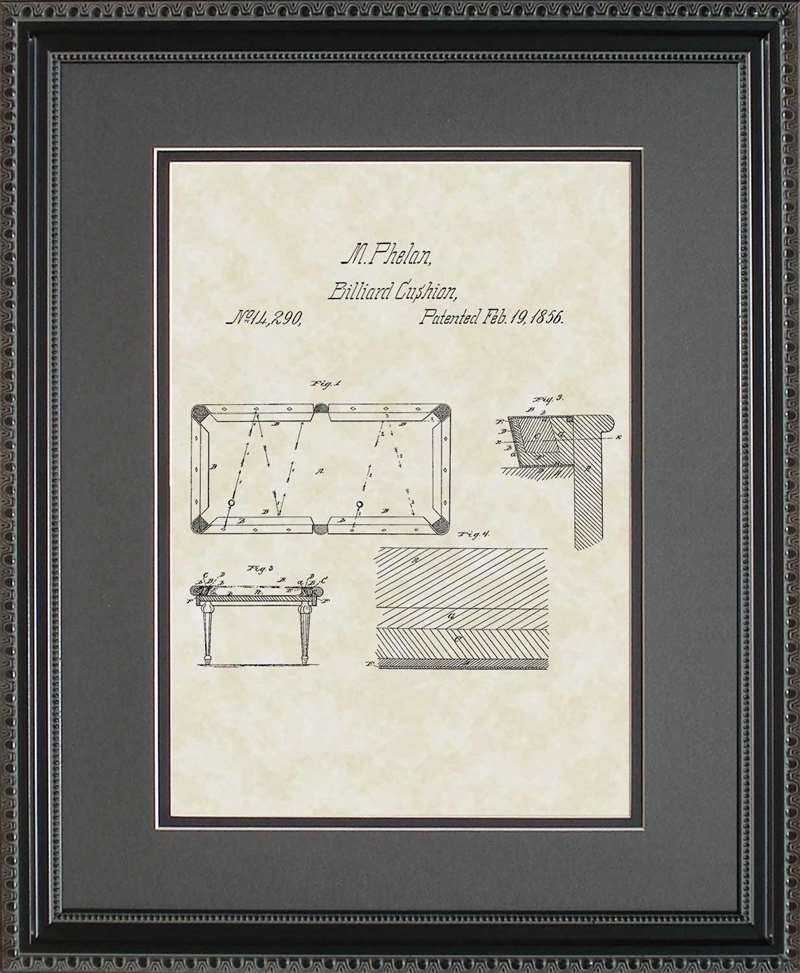 Pool/Billiard Table Patent Art, Phelan, 1856