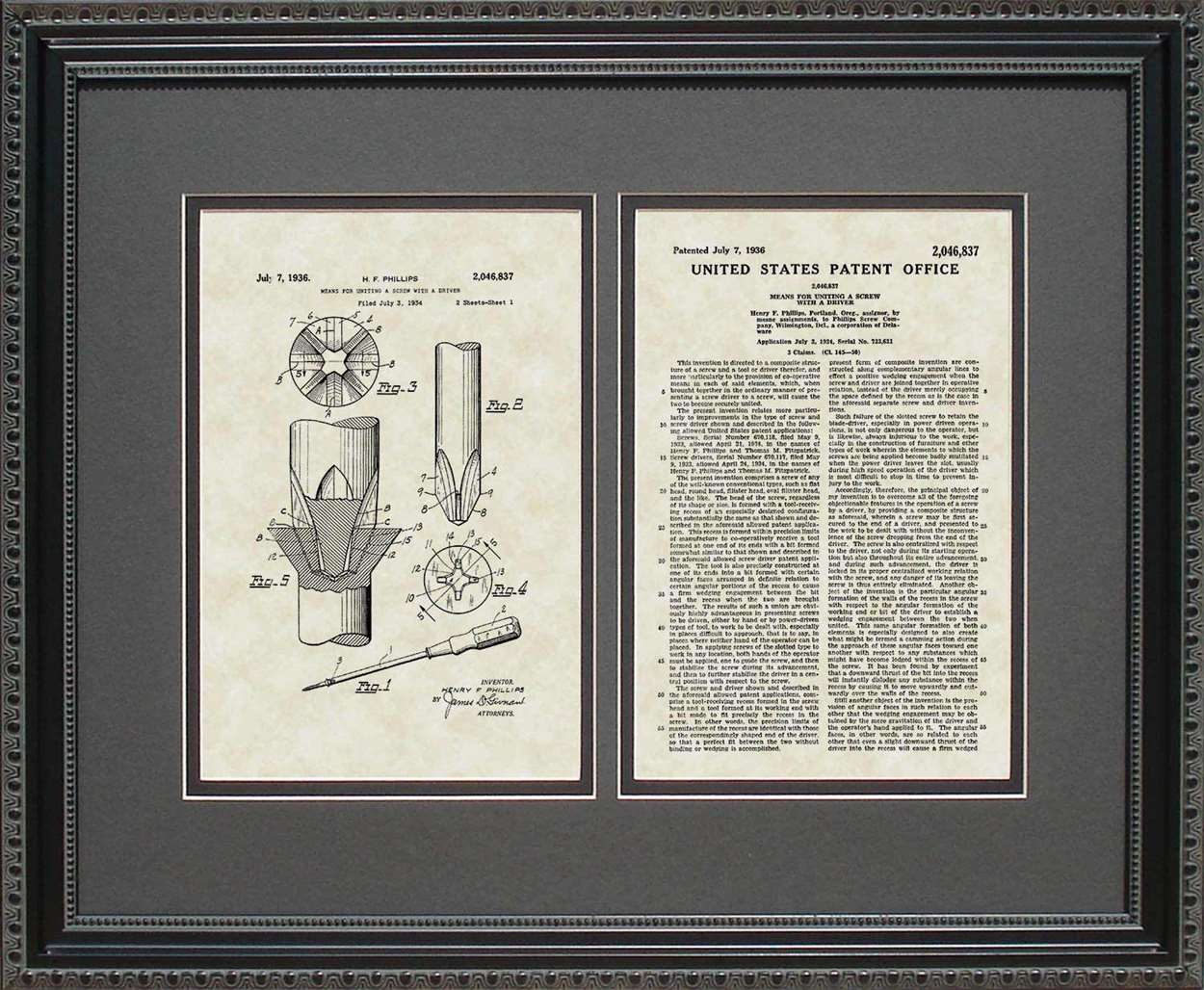 Phillips-Head Screwdriver Patent, Art & Copy, Phillips, 1936, 16x20