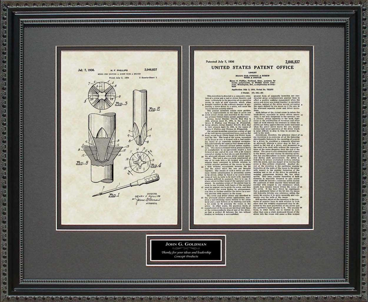 Personalized Phillips-Head Screwdriver Patent, Art & Copy, Phillips, 1936