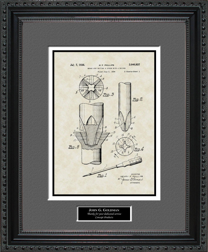 Personalized Phillips-Head Screwdriver Patent Art, Phillips, 1936