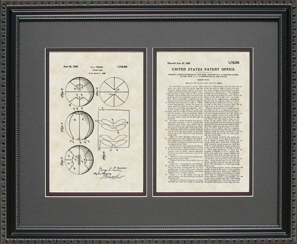 Basketball Patent, Art & Copy, Pierce, 1929, 16x20