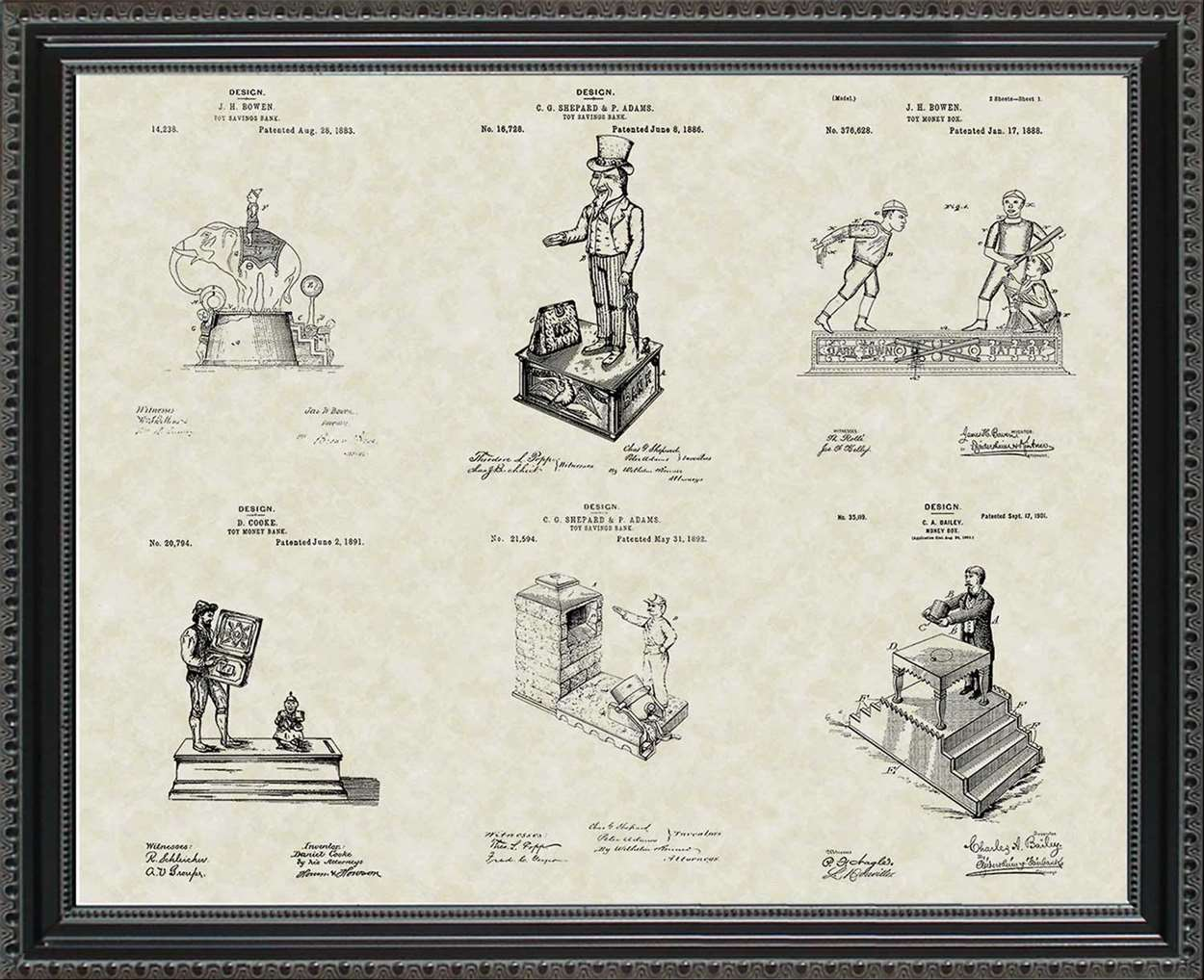 Mechanical Toy Bank Patents, 20x24