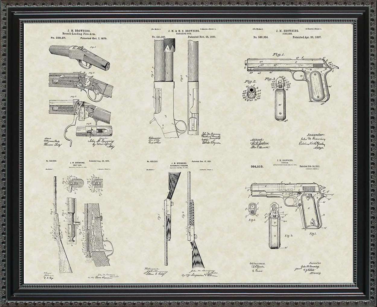 John Browning Firearms Patents, 20x24