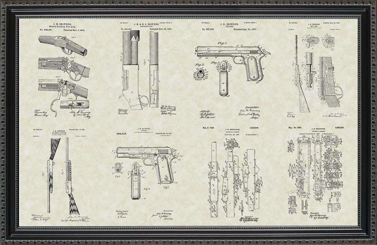 John Browning Firearm Patents, 20x30