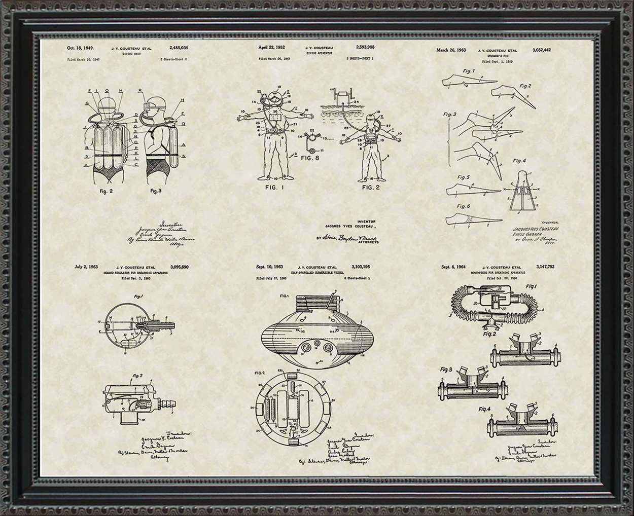 Jacques Cousteau Patents, 20x24