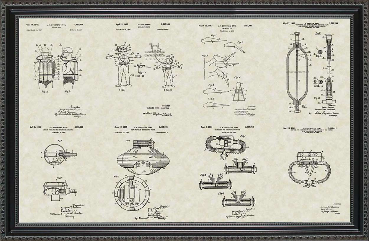 Jacques Cousteau Patents, 20x30