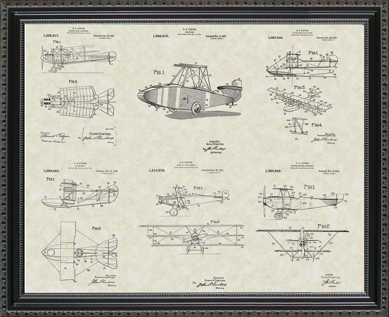 Glenn Curtiss Aircraft Patents, 20x24