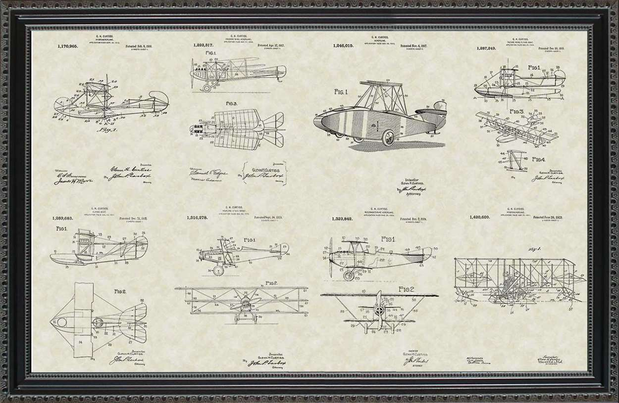 Glenn Curtiss Aircraft Patents, 20x30