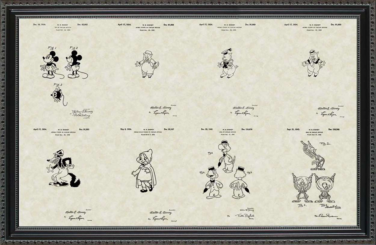 Disney Cartoon Patents, 20x30