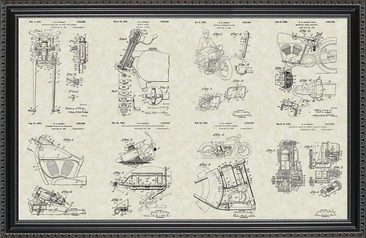 Harley-Davidson Motorcycle Patents, 20x30