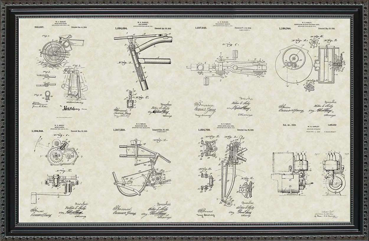 Harley-Davidson First Motorcycle Patents, 20x30