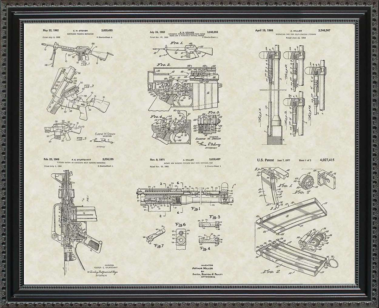 M-16 Military Rifle Patents, 20x24