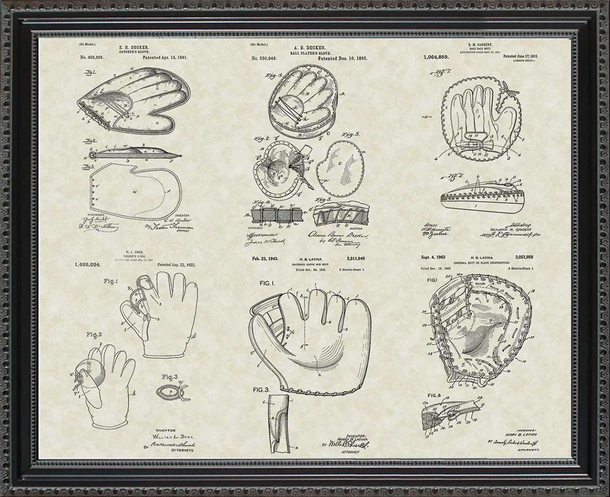 Baseball Mitt/Glove Patents, 20x24