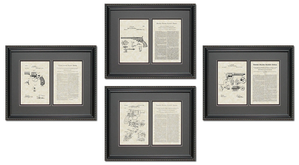 Early Firearm Patent Art & Copy Quad Frame Display, 16x20