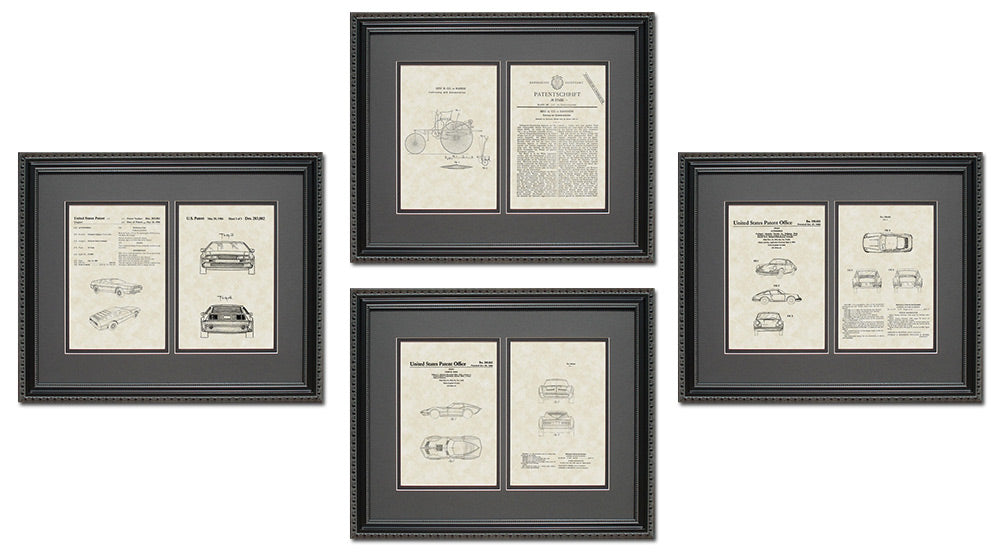 Auto Patent Art & Copy Quad Frame Display, 16x20