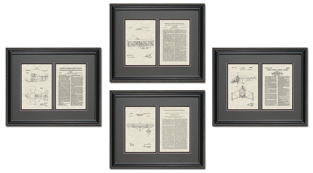 Aviation Patent Art & Copy Quad Frame Display, 16x20