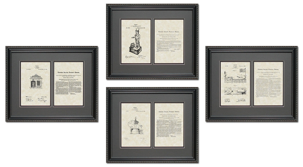 Toy Bank Patent Art & Copy Quad Frame Display, 16x20