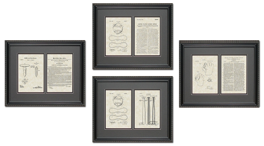 Baseball Patent Art & Copy Quad Frame Display, 16x20