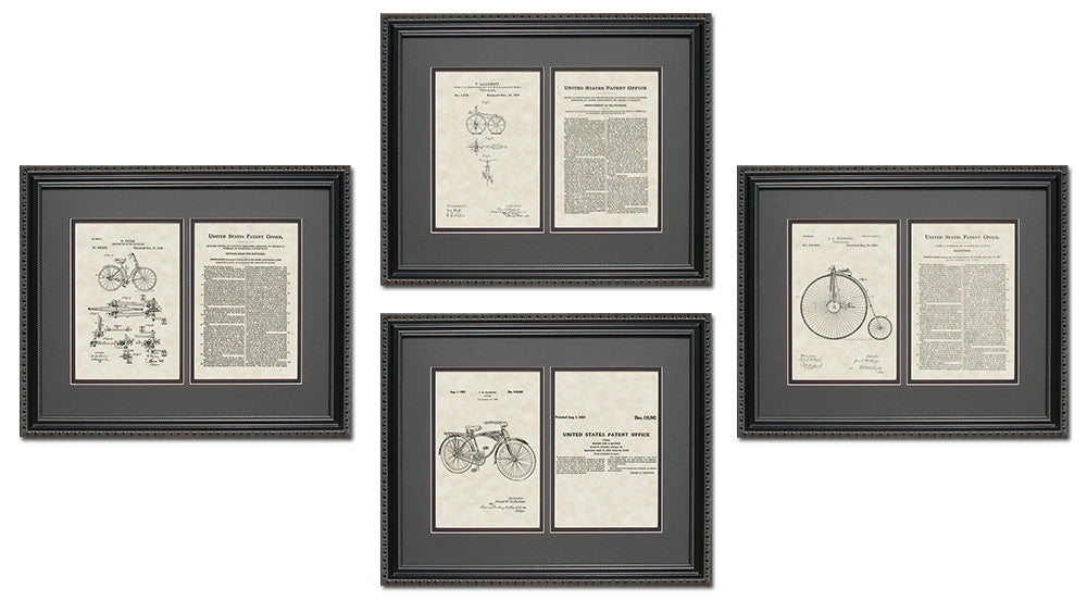 Bicycle Patent Art & Copy Quad Frame Display, 16x20